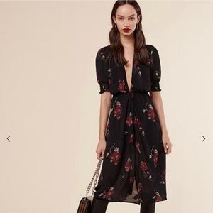 Reformation black floral midi dress small low v